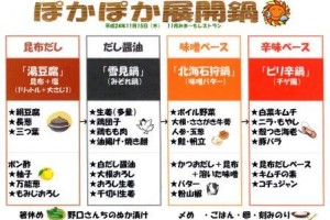日本の新たな鍋メニュー!その名も、ぽかぽか展開鍋!